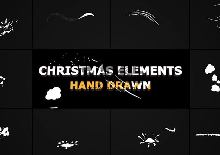 AE模板 冬天雪花图形动画元素 Winter Snow Elements Ae 模板-第1张