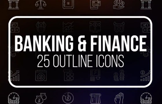 AE模板 – 25个Icons线条图标动画 VideoHive Outline Icons