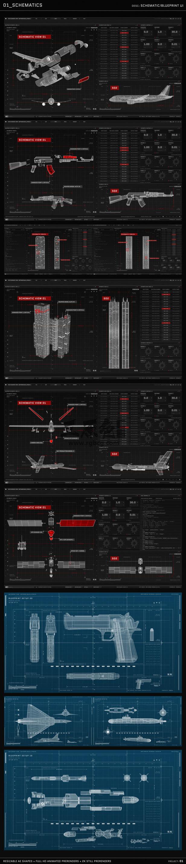 AE模板 电影.电视和游戏的UI图形HUD动画 HUD UI Graphics Ae 模板-第1张