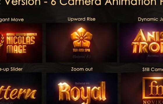 ae模板 三维金色文字标题LOGO动画片头 3d Gold Titles and Logo