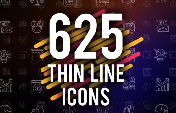 AE模板 625个创意扁平化细线条MG图标动画 Thin Line Icons