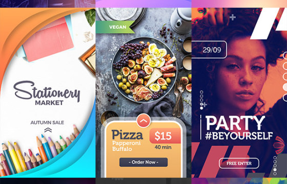 AE模板 – 朋友圈竖屏图文排版宣传广告模板 Instagram Stories