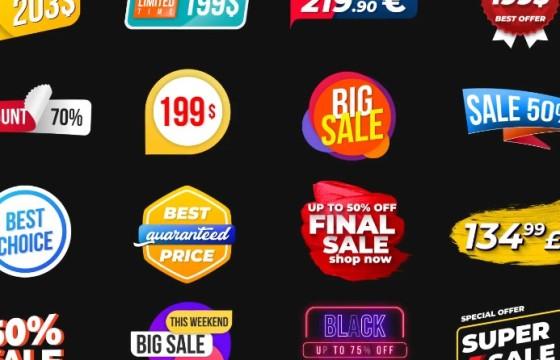 AE模板 创意MG图形促销价格标签动画 Animated Labels