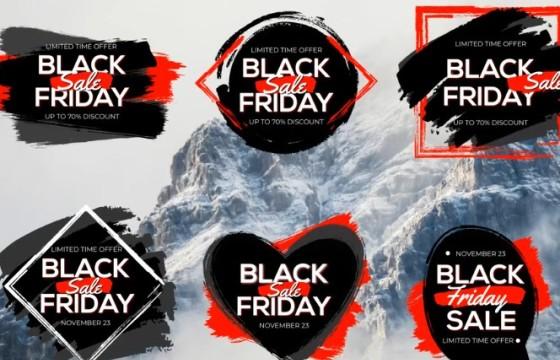 AE模板 促销打折文字标签字幕条动画 Black Friday Sale Titles
