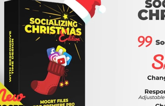 Pr基本图形模板 Mogrt预设模板圣诞版字幕条 Christmas Edition