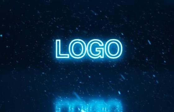 AE模板 下雪动画霓虹辉光LOGO标志片头 Christmas Logo Reveal