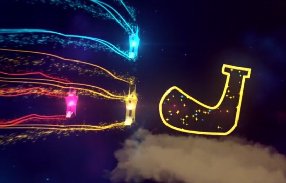AE模板 彩色发光五星圣诞节LOGO标志片头 Christmas Opener