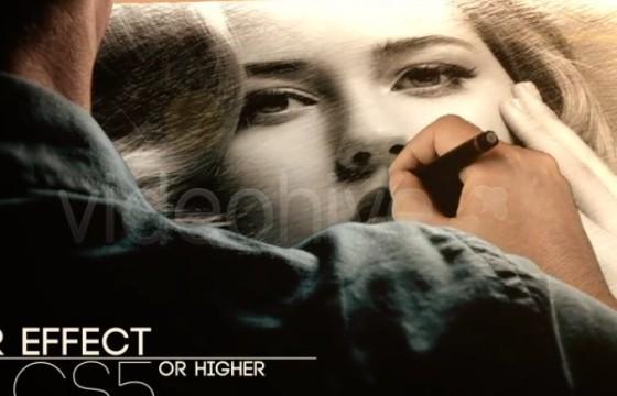 AE模板 创意照片铅笔手绘动画片头 VideoHive Drawing Promo