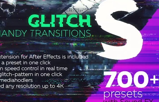 AE模板 视频画面故障干扰失真损坏效果过渡 Glitch Transitions