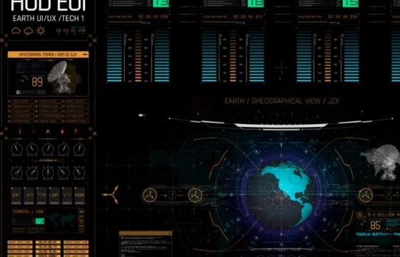 AE模板 高科技科幻HUD透明动画素材 HUD Screens