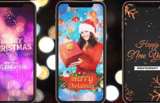 AE模板 – 12个新年春节圣诞节竖屏喜庆元素片头 Instagram Pack