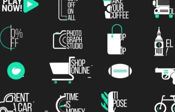 AE模板 – 创意MG卡通图标文字标题字幕排版动画 Icon Titles