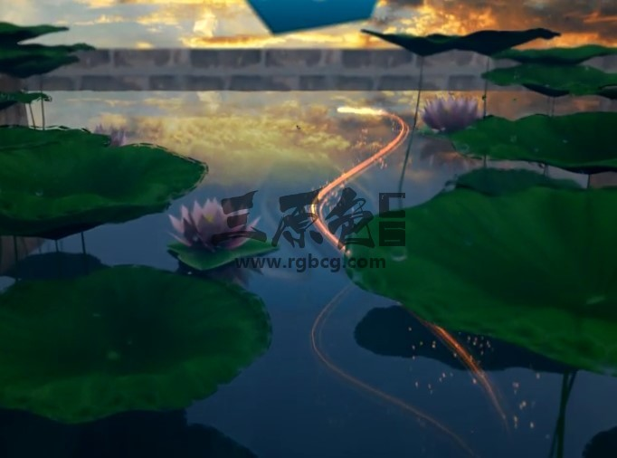 AE模板 水天一色莲花池LOGO动画片头 Lotus Pond Opener Ae 模板-第1张