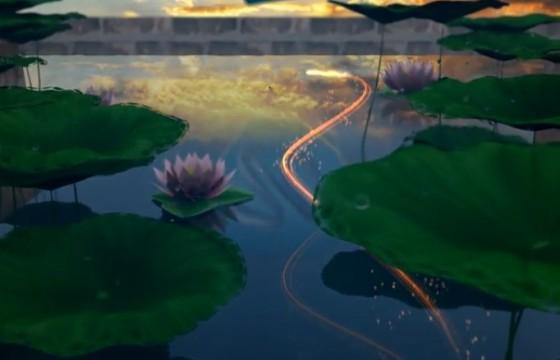 AE模板 水天一色莲花池LOGO动画片头 Lotus Pond Opener