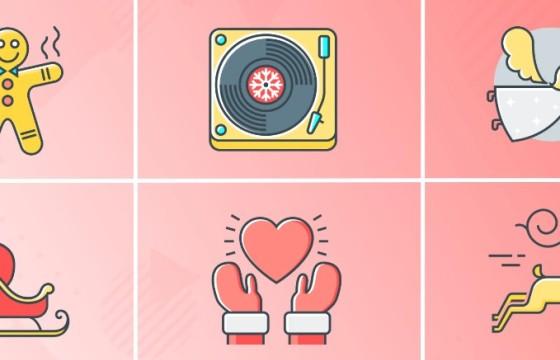 AE模板 – 30个圣诞节元素图标动画 Christmas 30 Animated Icons