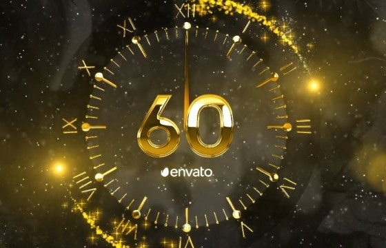 AE模板 金色粒子2019跨年倒计时片头 New Year Countdown 2019
