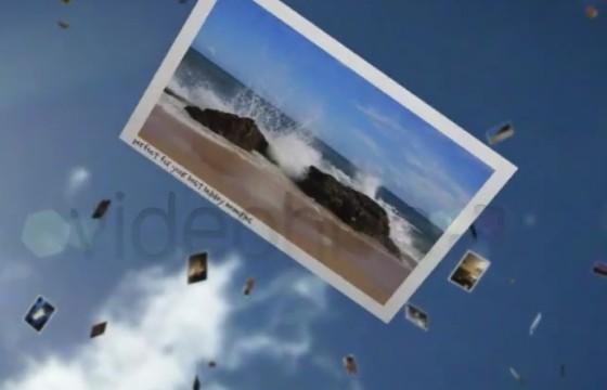 AE模板 阳光明媚的三维空间照片展示 Sunny Falling Photos