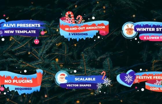 AE模板 圣诞节新年冬季气氛卡通字幕条动画 Winter Lower Thirds