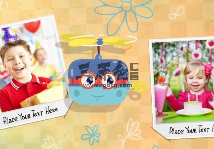 AE模板 卡通图形动画 家庭儿童宝贝照片相册 Baby Album Ae 模板-第1张