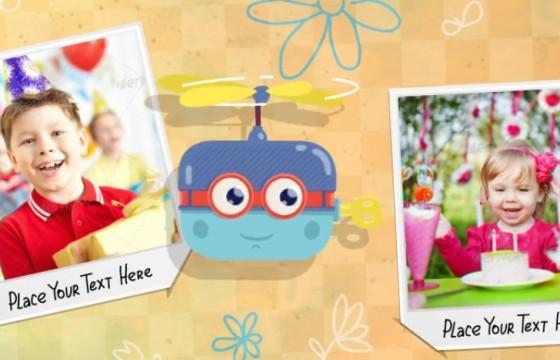 AE模板 卡通图形动画 家庭儿童宝贝照片相册 Baby Album
