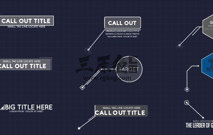 AE模板 - 扁平化文字标题呼出指示标注线条动画 Callout Pack Ae 模板-第1张