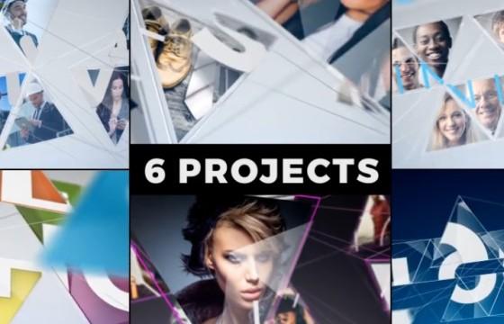 AE模板 6个创意视频图片连线LOGO显示片头 Connected Mosaic Pack