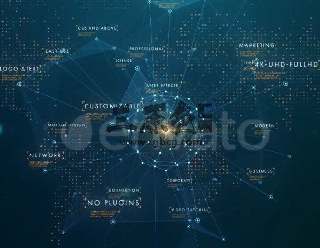 AE模板 公司业务网络辐射HUD动画 Corporate Business Network Opener Ae 模板-第1张