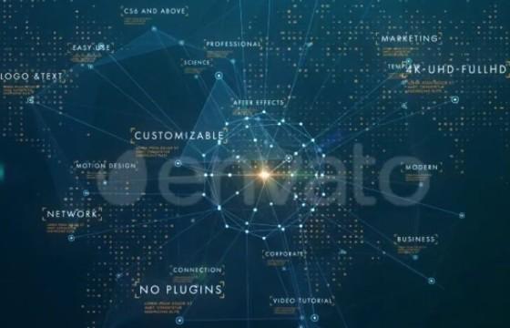AE模板 公司业务网络辐射HUD动画 Corporate Business Network Opener