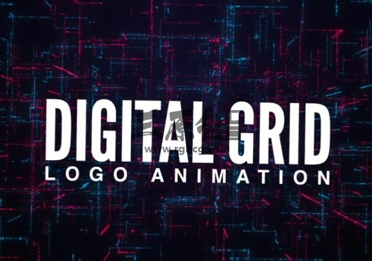 AE模板 数字网格LOGO标志动画片头 Digital Grid Logo Animation Ae 模板-第1张