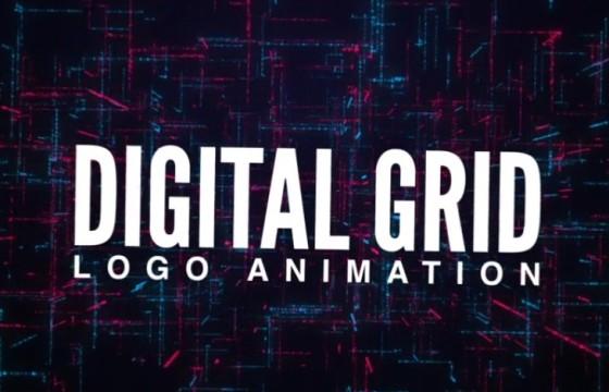 AE模板 数字网格LOGO标志动画片头 Digital Grid Logo Animation