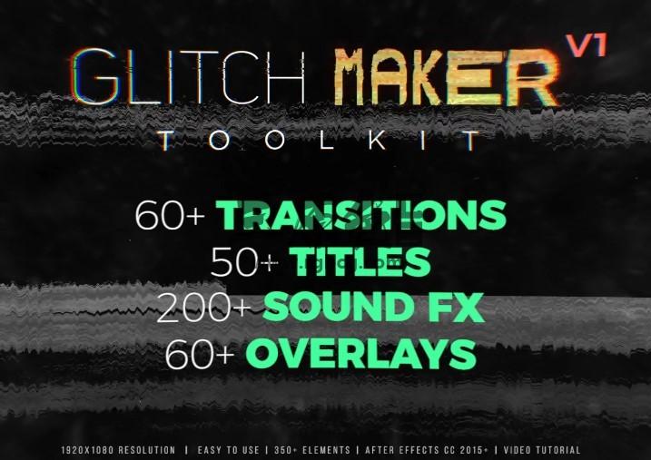 AE模板 350多个视频画面文字干扰故障失真效果特效元素 Glitchmaker Toolkit Ae 模板-第1张