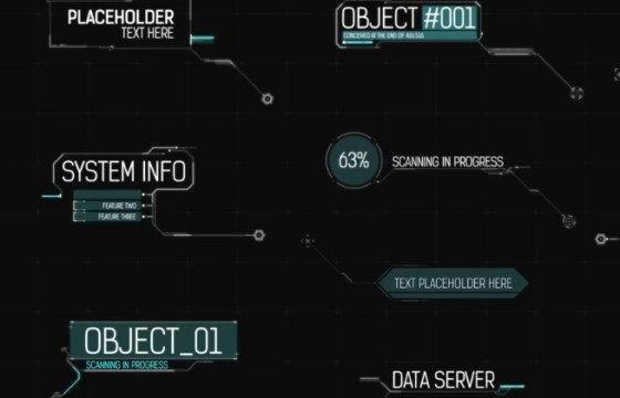 AE模板 高科技HUD呼出指示标注字幕条动画 HUD Call Out Titles