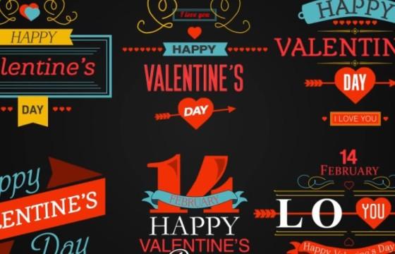 AE模板 婚礼情人节文字图形字幕条动画 Happy Valentines Day Badges