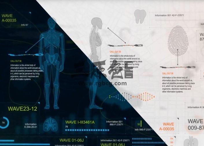 AE模板 - 人体医学高科技HUD信息图表动画 Infographics HUD Ae 模板-第1张
