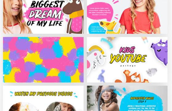 AE模板 – 儿童卡通视频动画字幕元素工具包 Kids Youtube Package Ae