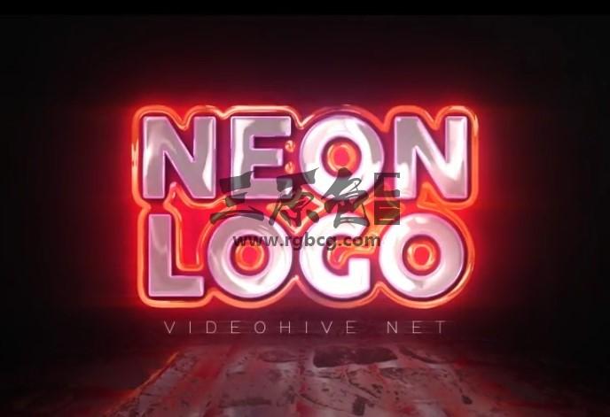 AE模板 - 霓虹灯闪烁文字LOGO展示片头 Neon Logo Reveal Ae 模板-第1张