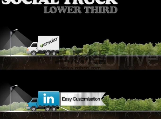 AE模板 - 货车车身LOGO字幕条动画广告 Social Truck Lower Third Ae 模板-第1张