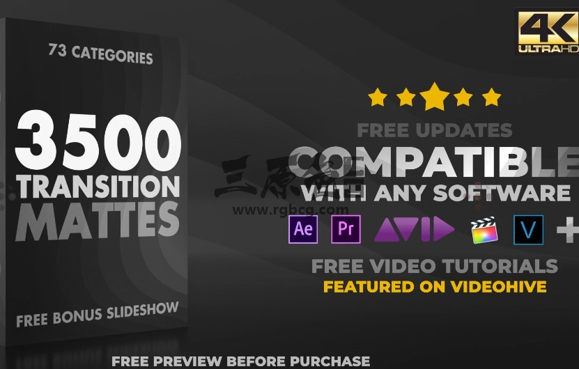AE模板+视频素材 3500个视频转场过渡特效动画 Ultimate Transition Mattes Pack Ae 模板-第1张