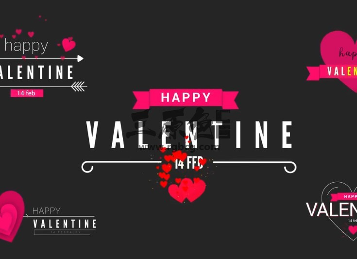 AE模板 - 婚礼婚庆情人节文字标题人名字幕条动画 Valentine Clean Titles Ae 模板-第1张