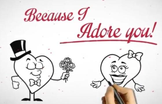 AE模板 手绘简笔画情人节表白情书动画 Valentines Day Love Letter