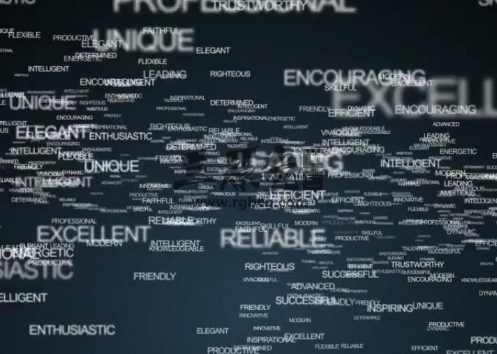 AE模板 关键词文字飞入汇聚LOGO动画片头 Words Logo Animation Ae 模板-第1张