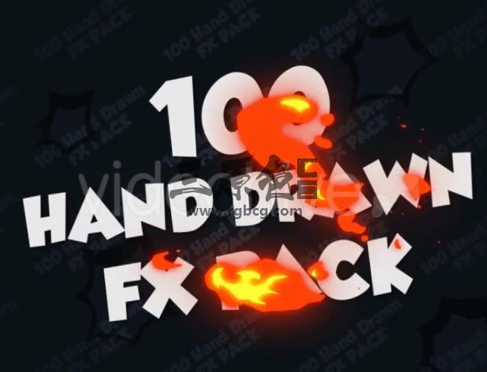 AE模板 100个手绘卡通特效MG动画元素包 Hand Drawn FX Pack Ae 模板-第1张