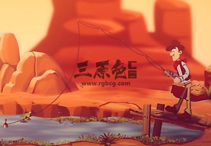 AE模板 卡通人物钓鱼动画LOGO显示片头 Big Fish Logo Ae 模板-第1张