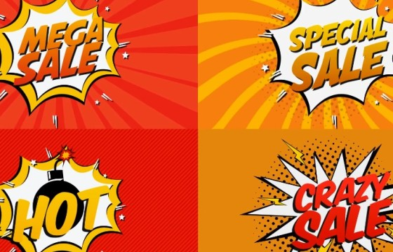 Pr基本图形模板 Mogrt预设 综艺漫画卡通文字动画 Comic Book Sale Cartoon