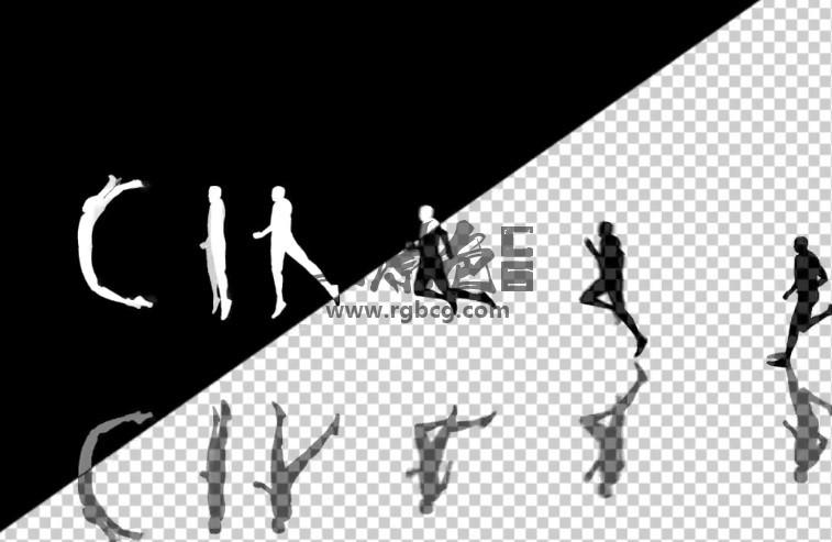 AE模板 人物剪影跑步变换英文字母动画模板 Human Typeface II Ae 模板-第1张