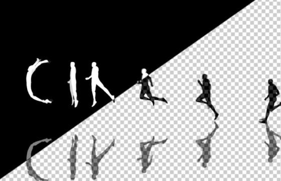 AE模板 人物剪影跑步变换英文字母动画模板 Human Typeface II