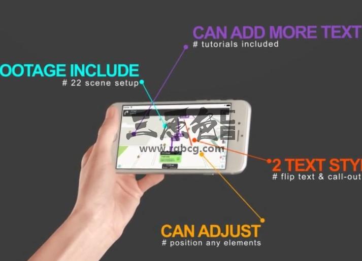 AE模板 手机APP移动程序界面功能展示标注 Mobile Display App Promo Ae 模板-第1张