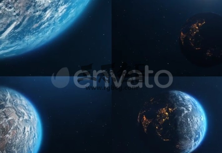 AE模板 行星地球夜晚全貌动画 VideoHive Planet Earth Ae 模板-第1张