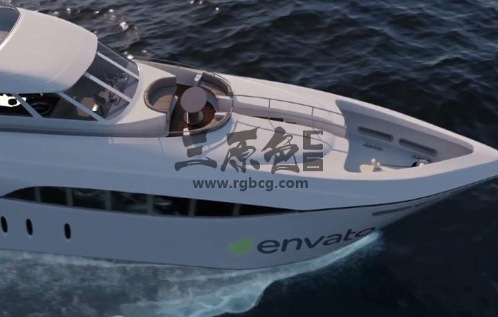 AE模板 豪华游艇船身LOGO广告 国旗旗帜动画 Videohive Luxury Yacht Ae 模板-第1张
