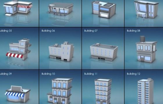 E3D模型 多边形像素运动图形动画模型 3D Motion Graphic